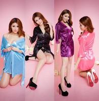 Solid Color Temptation Women Dress Sexy Bathrobe Rayon Silk Nightdress Robes Sleepwear Soft lingerie