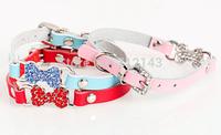10pcs/lot Genuine Leather Pet Neck Straps Colored Rhinestones Dog Bone Cat Collar