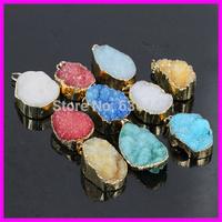10PCS Wholesale Natural Druzy Agate Stone Pendants Mixed color Druzy Drusy Pendants for jewelry Necklace DIY (RANDOM IN SHAPE)
