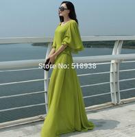 New 2014 autumn winter women fashion green butterfly sleeve long dress chiffon floor length casual maxi plus size brand dresses