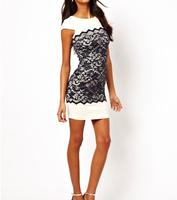 free shipping sexy sheath lace white dresses high quality white mini women dress 2014