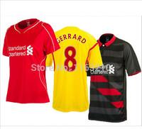 A+++ Top Thailand New 14-15 Liverpool Home Away Soccer Jersey 2015 liverpool Futbol Shirt customized