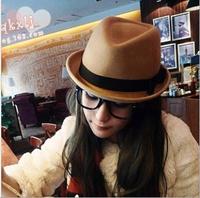 New 2014 Fashion woman man Korean style British bowknot jazz hats casual Vintage edge Wool hat chapeu cap Free shipping