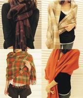 Fashion Women Warm Winter Tassels Scarf Shawl Cotton Wool Blended Long Soft Scarves Wraps Plaid 200x63cm