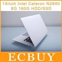 high configuration 14 inch Ultrabook Laptop Intel Celeron N2840 2.16Ghz Dual Core netbook 8GB RAM 160GB Windows 8 support SSD