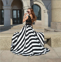 chiffon women party dress sleeveless  V-neck  stripe dress high waist  lace Elegant   Prom dress fashion  S/M/L
