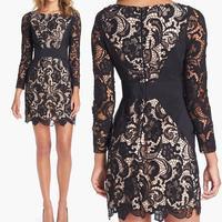 New Women Sexy Celebrity  Crochet  Lace  Long Sleeve Panel Dress Bandage Midi Dress  Club Pencil Dress   4405