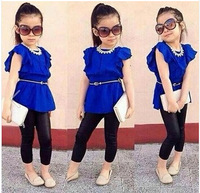 Free shipping 2014 New Arrival New Summer Girls Flying Sleeve Short Summer Girls 2 Piece Suit