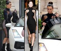 Top Selling Women Celebrity Mesh Dresses Fashion Polka Dot Two Side Panel Dress Bandage Midi Dress Night Club Pencil Dress 4062