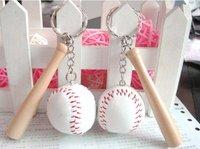 Mini handmade woven thread baseball keychain Leather+Wood key chain the prize Baseball Keychains Free Shipping