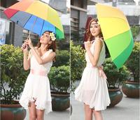 New fashion  princess sun-shading folding women's umbrellas quality  rainbow beach  umbrella