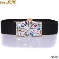 Fashion crystal feimu diamond elastic waist women's wide belt the broadened skirt diamond decoration accessories
