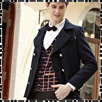 2014 winter men fashion coat new men's woolen  winter Slim wool coat England men's woolen jacket lapel