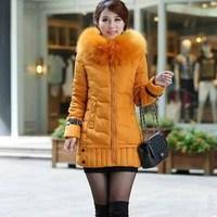 2014 yards long feather padded oversized fur collar coat was thin female coat