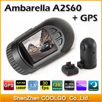 "Ambarella GPS Car DVR recorder Mini 0801 with 1.5"" LCD + 1920*1080P 30FPS + 132 Degrees Wide Angle + G-Sensor car camera"