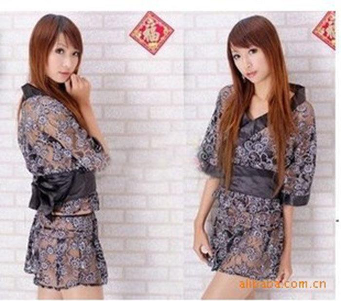 Fantasia New Fashion Hot Sale Erotic Lingerie Appeal Uniforms Black Kimono Game Uniforms Free Shipping Photo take(China (Mainland))