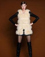 2014 Spring Winter Women Korea Fashion Luxury Faux Fur Vest Long Imitation Fox Furs Waistcoat Women's Wool Coat Vests Overcoat