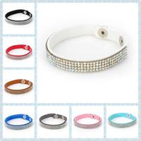 2014 New Fashion 4 Layer Leather Bracelet luxury handmade bracelet with bling rhinestone charm wrap bracelets bangles for women