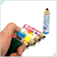 10pcs/lot Creative Lovely Big Head Pencil Shaped Portable Inflatable Smoking Flame Lighter Butane Gas Cigarette Lighters