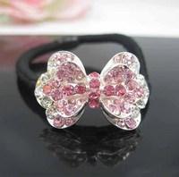 CCF004 Classic Korea Women Hair Jewelry Full Rhinestone Crystal Bow Knot Hair Rope Fashion Hairbands