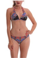 2014  Summer Bikinis Set  Women Bikinis Set  Print  Sexy  Push-Up Padded Top Plus Size Swimsuit Geometric   Print Swimwear DG077