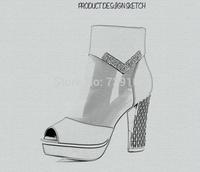 2014 new Italian brand fashion lady high-heeled shoes (thick heel, waterproof, mesh)