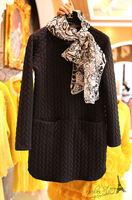 Free shipping 2014 summer new women fashion waffle dress,girl o-neck long sleeves casual dress
