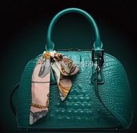 2014 new European and American fashion handbags crocodile pattern leather shell bag Messenger bag laptop shoulder bag lady