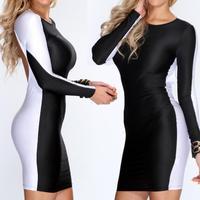 Black  White   New Women  Sexy Cut Out Back  Long Sleeve Bandage Midi Dress Night Club Pencil Dress 4005
