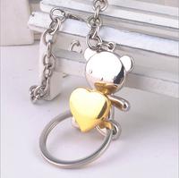 1pc/lot Free Shipping Creative Cute teddy bear key chain keychain key rings novelty items fob rings trinket fashion gift