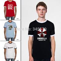 Resident Evil Umbrella Men T Shirts Dreamville Deep Purple Cotton Mens Ringer Shirt Short Sleeve O Neck Free Shipping