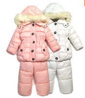 RC0124 Free shipping children winter windproof clothing set girl's ski suit kids sport sets fur jackets + trousers 2 pcs retail