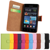 For Samsung Galaxy S2 I9100 Hight Quality Stand Wallet Pouch Genuine Leather Flip Case Cover