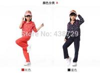 Freeshipping two-piece HOT 2014 autumn new Korean version children suit,girl long sleeve dot Leisure sweat suit fashion