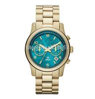 Free Shipping New 2014 Fashion Luxury Brand Women Kors Watches Quartz Casual Aqua Dial Steel Gold Women Dress Watches 1 Color