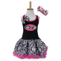 Girls Black Hot Pink Damask Halloween Batgirl Pettiskirt Party Dress Costume with Headband 1-4Y