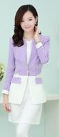 New 2014 Autumn Women's Fashion Sweet Jacket Stitching Slim long-sleeved Women's jacket Free Shipping Promotion