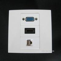 Good Quality White Floor Socket HDMI + VGA + RJ45 Network Jack Wall Panel Multimedia Panel Socket Type Connector Free Shipping