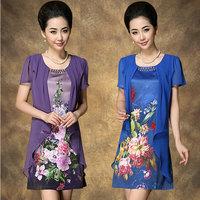 Plus size one-piece dress silk one-piece dress summer short-sleeve slim mother clothing chiffon