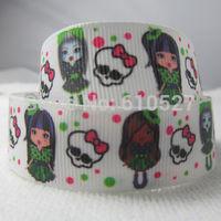 "Free Shipping 5 Yards 7 8"" 22mm Monster High Printed Grosgrain Ribbon Hair BOW Skull Printed Holiday Gift Ribbons Free Shipping"