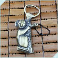 10pcs Lovely Koala Shaped Portable Inflatable windproof torch Lighter Butane Gas Cigarette Lighters With bottle Opener&Key ring