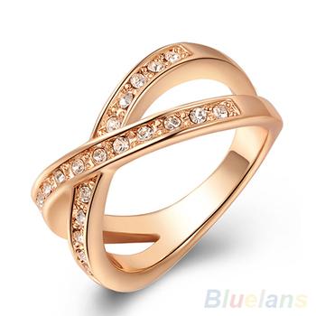 Женская австрийский хрусталь 9 К розового золота горный хрусталь свадьба ювелирные ...