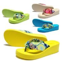 2014 Summer bohemia flower flip flops platform wedges women sandals platform flip slippers beach shoes Women Comfortable