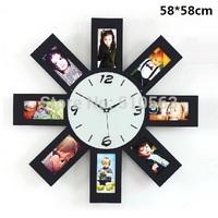 gz061 Free shopping 1pcs Modern fashion large wooden photo frame clock pure sitting room quiet creative clocks wall clock
