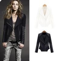 New Arrivals!Fashion Autumn Winter Women Jackets Pu Leather Patchwork Full Sleeve Women Clothes Zipper Slim Coat 2 Color S-XXL
