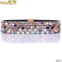 Feimu luxurious fashion rhinestone cummerbund women's wide belt broadened fashion skirt decoration elastic strap female
