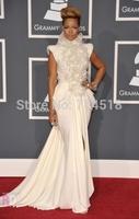High Quality High Neck Grammy Awards Long Length Keyhole Back Appliques White Ruffles Side Split Rihanna Celebrity Dresses