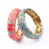 Newest 2014 Fashion Jewelry Statement Resin Handed Enamel Elastic Charm Bracelets & Bangles Factory wholesale