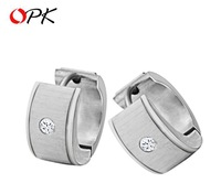 OPK JEWELRY Trendy Casual Stainless Steel Men's Stud Earring inlaid Crystal hot selling, 209