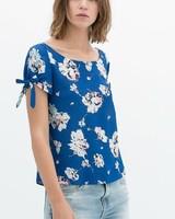 ST1991 New Fashion Ladies' Elegant floral print blue T shirt short bow tie sleeve O neck Shirt casual slim brand designer tops